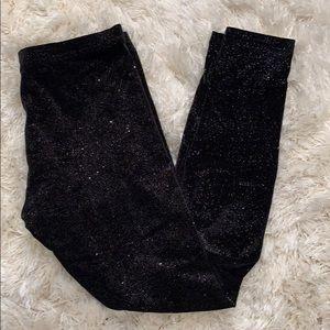 Black velvet sparkly leggings size medium